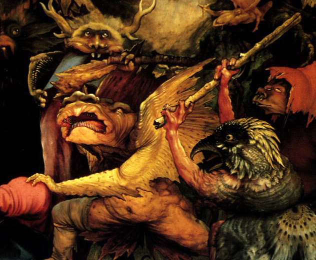 artdetails:  Matthias Grünewald, The Temptation of St. Anthony (detail), 1512-16