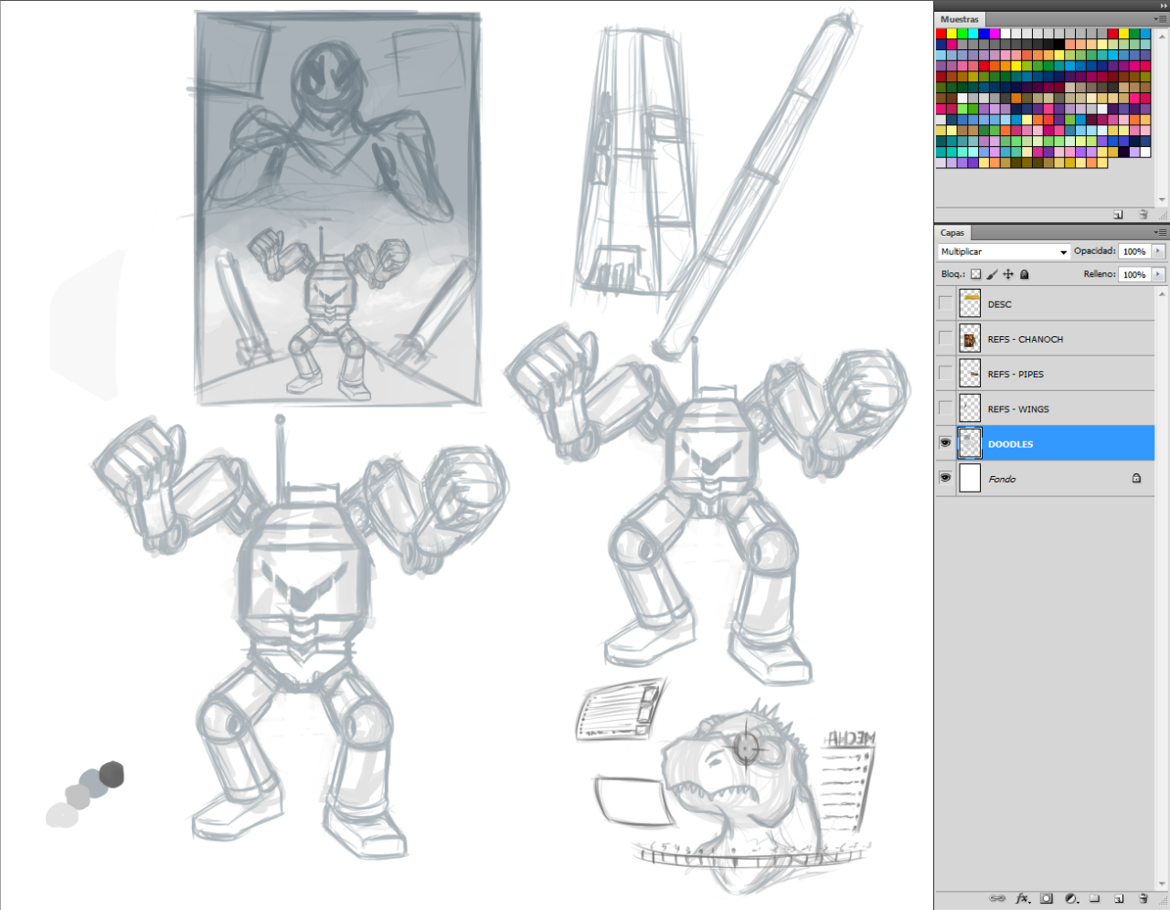 Collection of WiPs for a drawing done for @fgsshinyhoardLizard Powered Robot.We need more of that in fiction. #Artwork#Robot#Mecha#Lizard-Man#Science Fiction #Artists on Tumblr #Digital Artwork #Artist: James Corck  #Art and Illustration #WiP #Work in Progress