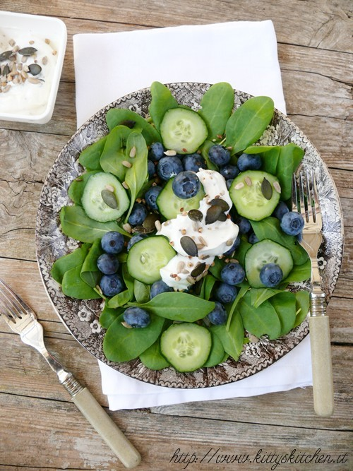 Spinach, Blueberry & Cucumber Salad