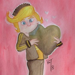 Just painted David's valentine. #rancisfluggerbutter #wreckitralph #valentinesday #watercolorpainting #williamotyler