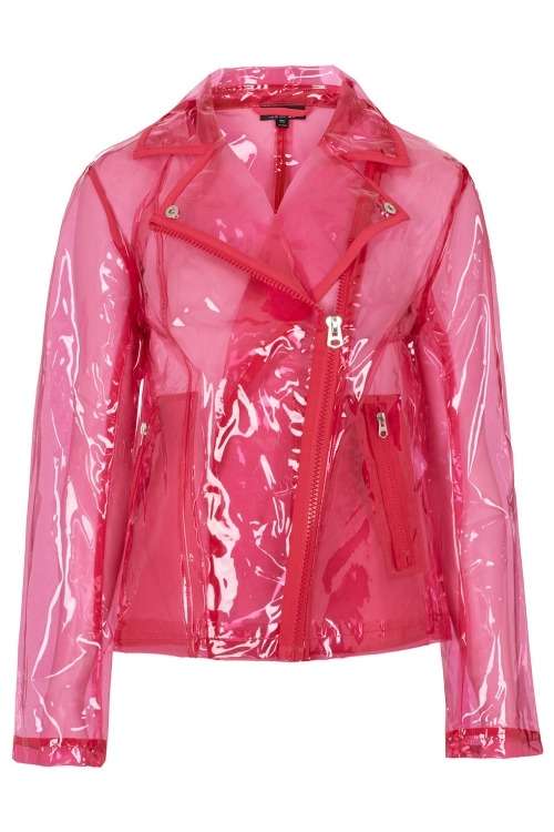 Dress like Rachel Berry: pink clear pastic jacket $72