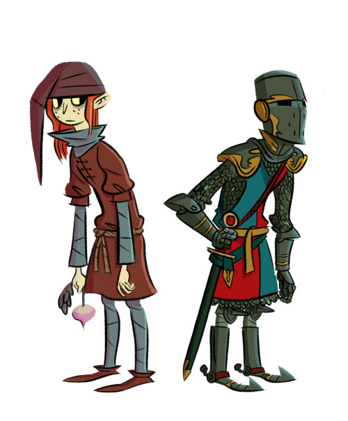 "Some early drawings of The Knight character, from Double Fine's ""The Cave""! His cave paintings were probably overall my favorite ones to work on. I imagine he maintains his pallidness through a steady diet of boiled meats and root vegetables, and a climate of the greyest chilly drizzles. Just like me!"