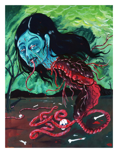 "An original painting of the horrifying Malaysian vampire, the Penanggalan. A vampire whose head detaches each night as it flies around, trailing viscera, sucking the blood of infants in their mother's womb! Part of my ""Hallowed Halloween"" art show in Philadelphia with Sam Heimer!Image prints at 11 X 14, on high quality matte card stock. https://www.etsy.com/listing/163669859/penanggalan-vampire-original-art-print"