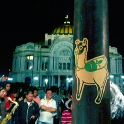 the-martians:  enjoying night street bands in #mexico #streetart #slaps #stickerart #graffiti #print #stickerporn #nightlife #music #photooftheday