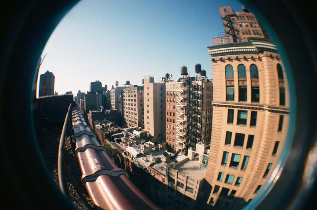 A Manhattan rooftop via a toy fisheye film camera. - New York City - 04/27/2013