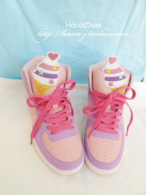 thunder-bunny:  Fairy Kei Ice Cream Sneakers $48  *o* I wish I wasn't broke!