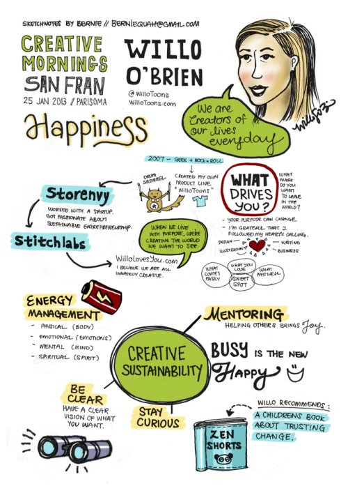 "creativemornings:  Check out some more excellent sketch notes from January's CreativeMornings/SanFrancisco all about ""Happiness"" with Willo O'Brien. Willo has made a career out of creativity. As an artist, social supercollider, and self-described geek for over a decade, Willo has a passion for empowering fellow creative entrepreneurs. Notes by the always great Bernie Quah."