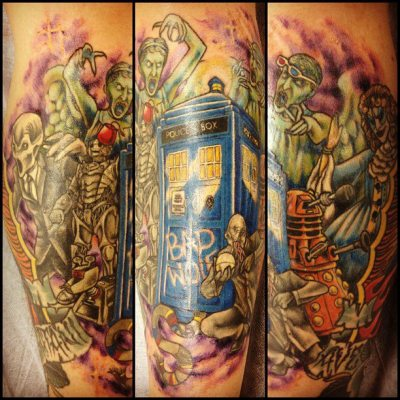 the-doctor-lives:  Got my Doctor Who tattoo finished today. Bit of everything in it!  have some doctorwho  Amazing!!