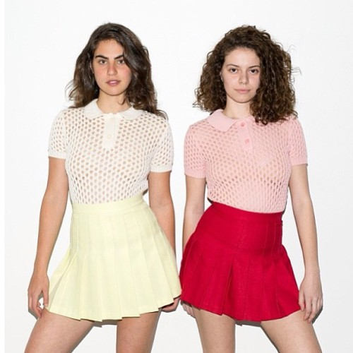 americanapparel:  Anitra and Mariana wearing matching Open Knit Tennis Shirts and Skirts. May 2013.