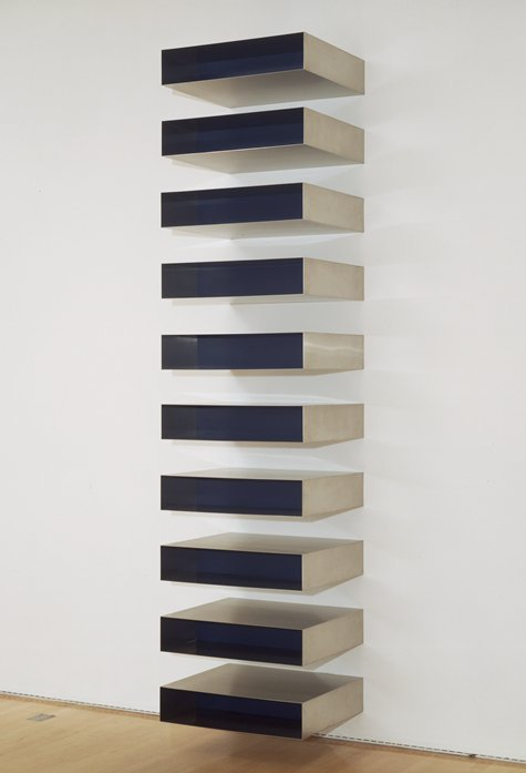 cavetocanvas:  Donald Judd, Untitled, 1973 Things to keep in mind while studying: This sculpture is an example of what movement? How does the highly polished surface help with Judd's elimination of the hand of the artist? This was a reaction to what style?