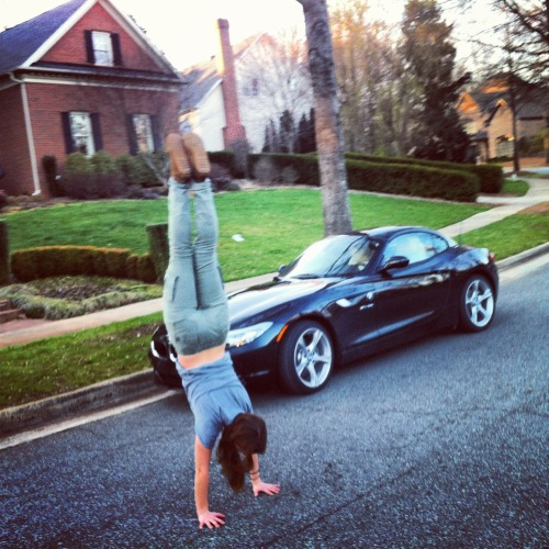 Handstanding in front of my grandpa's sexy BMW no biggie.