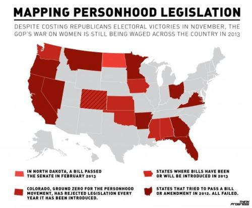 "Interesting map from Think Progress about the growing number of ""personhood"" measures across the country. Click here to learn more."