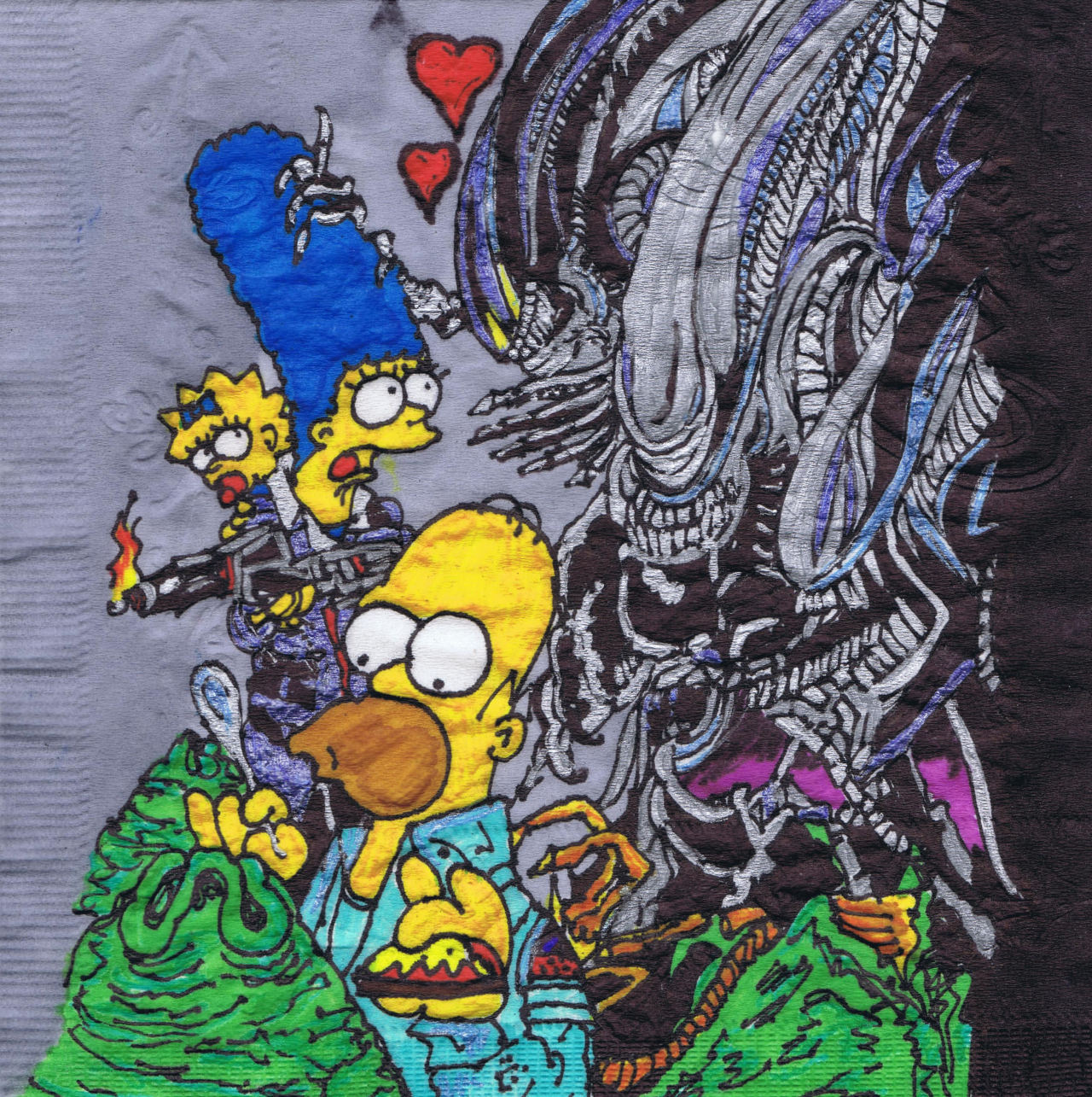 Alien in love.  New Valentine's Simpson napkin art.