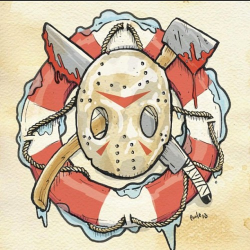 Color version. #jasonmask #tattoo #friday13th #illustration #horror