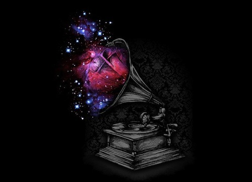 Sound of Galaxy by Arindra Prakoso has returned to Threadless after its long journey the the furthest reaches of space! Don't forget about free worldwide shipping on orders over $45!  Shipping offer ends 5/23.