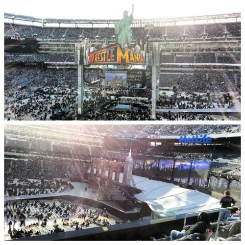 Our seats for #wrestlemania are preeettttyyy good. The setup is rad! #wrestling #wwe