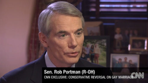 "Sen. Rob Portman (R-OH) has reversed his position on gay marriage after his son came out of the closet, the senator told CNN in an interview published online Friday.  ""I'm announcing today a change of heart on an issue that a lot of people feel strongly about,"" Portman said. ""It has to do with gay couples' opportunity to marry. And during my career in the House and also last couple years here in the Senate, you know, I've taken a position against gay marriage, rooted in part in my faith and my faith tradition. And had a very personal experience, which is my son came to Jane, my wife, and I, told us that he was gay and that it was not a choice and that, you know he, that's just part of who he is, and he'd been that way ever since he could remember."""