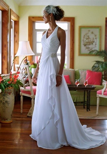 Ivory halter wedding dresses