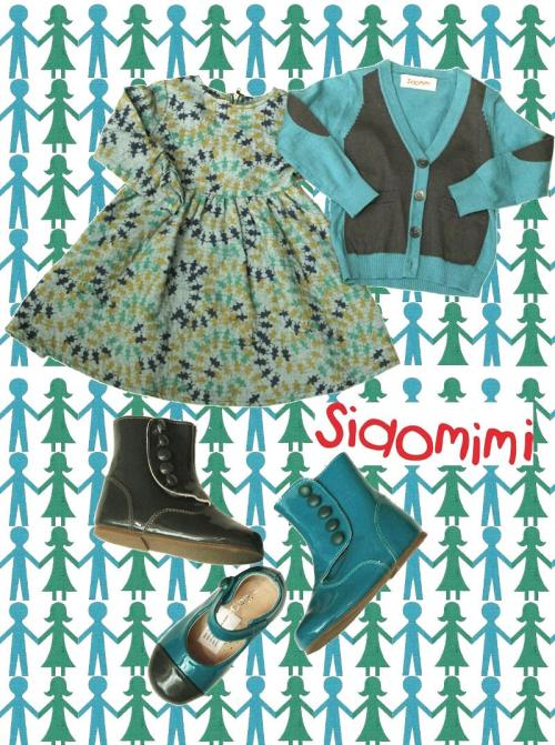 Siaomimi greets fall with an artful mix of aztec motifs with nordic flavor in the line's signature sophisticated hues. For girls, silhouettes include full skirts, babydoll tops, prairie dresses and printed cardis in colors like pumpkin, orchid lavender, peacock green and dusk (blue). The boys' groupings include pieces like hoodies adorned with cheeky bunny ears, western-style plaid tops, colorblocked intarsia cardigans and striped pullovers in burgundy, sapphire, bird (teal) and mauve (heathered lavender). The line also includes owls and foxes, fair-aisle henleys for him and jackets for her, over-sized pompom embellishments and blingy stones, as well as coordinating footwear.