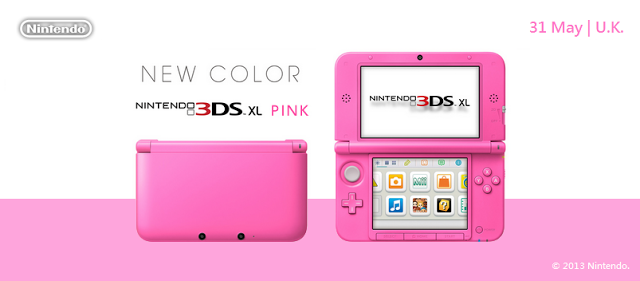 Nintendo 3DS XL Pink is Coming to UK, Europe Nintendo 3DS colors are abundant. The same is true with Nintendo 3DS XL colors and variants. Now coming to the United Kingdom is a brand new color for the 3DS XL - Pink.Even if you're a guy, you have to admit how fancy the handheld looks with with the color pink in it. Also, notice how this looks slightly different with other pink 3DS variants that have been available before. The pink here is more stronger. Perfect for the ladies and the young at heart. I'll consider buying one for myself just because it is cute. Hey, my guy friend has a pink Nintendo DS and no one's complaining!The Nintendo 3DS XL - Pink is coming to the United Kingdom on May 31. It looks like it's coming to the whole of Europe as well.Also, you can also buy a special Nintendo 3DS variant at Play-Asia! If you buy there or visit the link, you are also supporting this website. Big thanks! http://bit.ly/17TGOIg