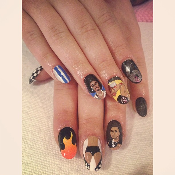 Got some @fastandfuriousmovie inspired nails at @pinkysnails. I just, can't. @itsludacris #fastandfurious #nailart #ass #pinkysnail #vindiesel #ludacris