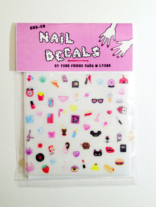 calivintage:  (via CUTE & SLEAZY teeny tiny nail decals COLOR by saramlyons on Etsy)