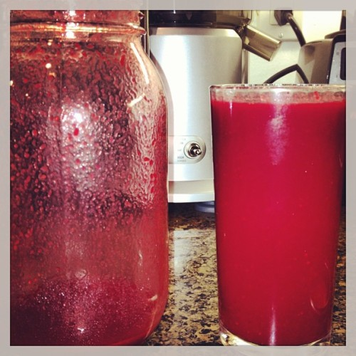 #juicing#red#beets#strawberries#lemon#ginger#apples