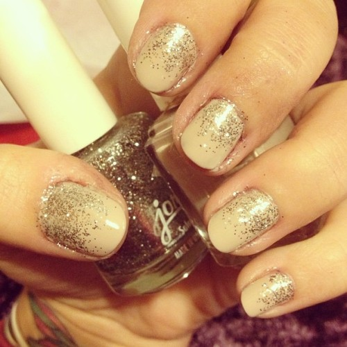 NYE #nails. Nude with glitter! 💅✨