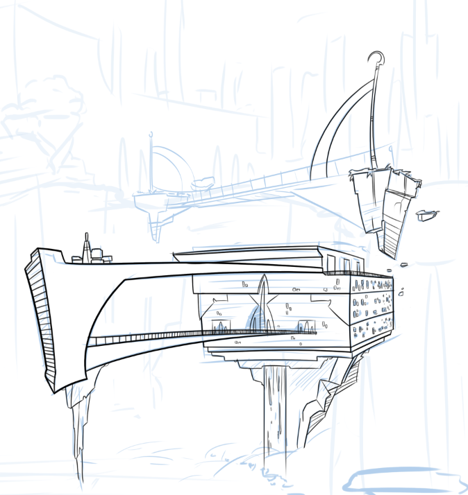 I only draw on thursdays lately, and today went pretty slow. All I really got to was the line work for this ship in the background of Autumns fantasy picture, but I'll just try and post progress on it every week so tumblr still knows I'm alive.