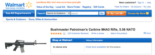 thenationmagazine:  BREAKING: Walmart pulled the Bushmaster AR-15—one of the weapons used in the Sandy Hook massacre—from its site just as this report went to press.