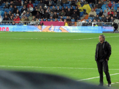 """Gracias"" A pensive Jose Mourinho during Real Madrid's match against Villarreal Thank you for the Copa, for the Liga and for everything. (Madrid, Spain, 2011)"