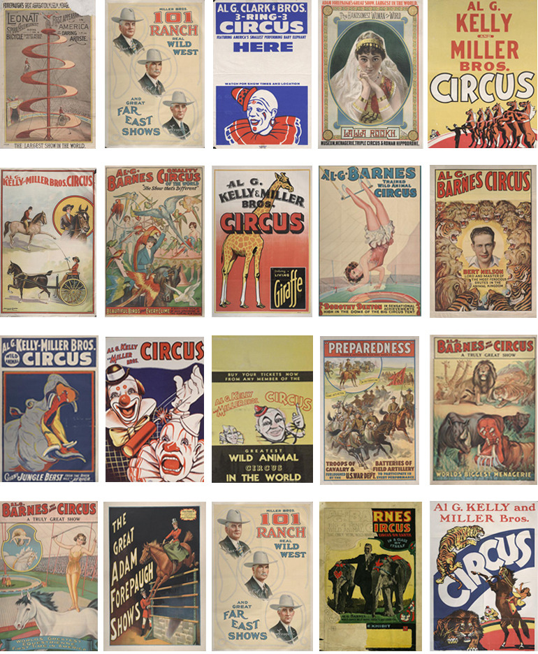 Vintage circus poster typology. Ringling Museum of Art, Tibbals Digital Collection.