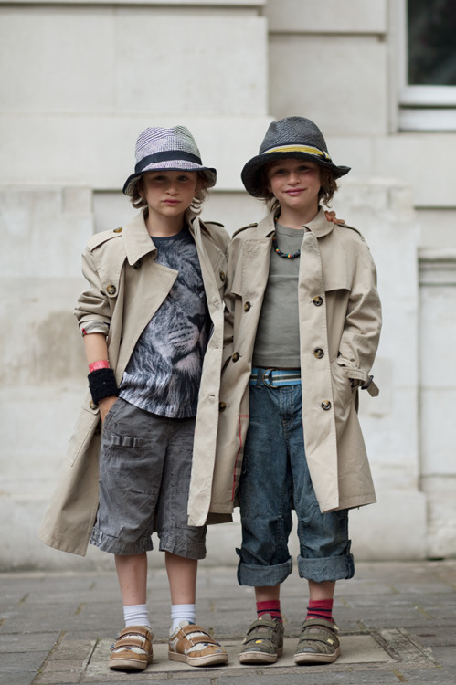burberry:  Max and Joe Photographed by The Sartorialist in London