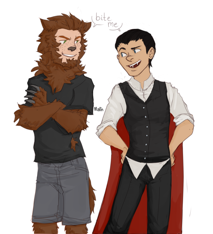 emileesaurus answered: dick and wally as the cutest vampire/werewolf buddies