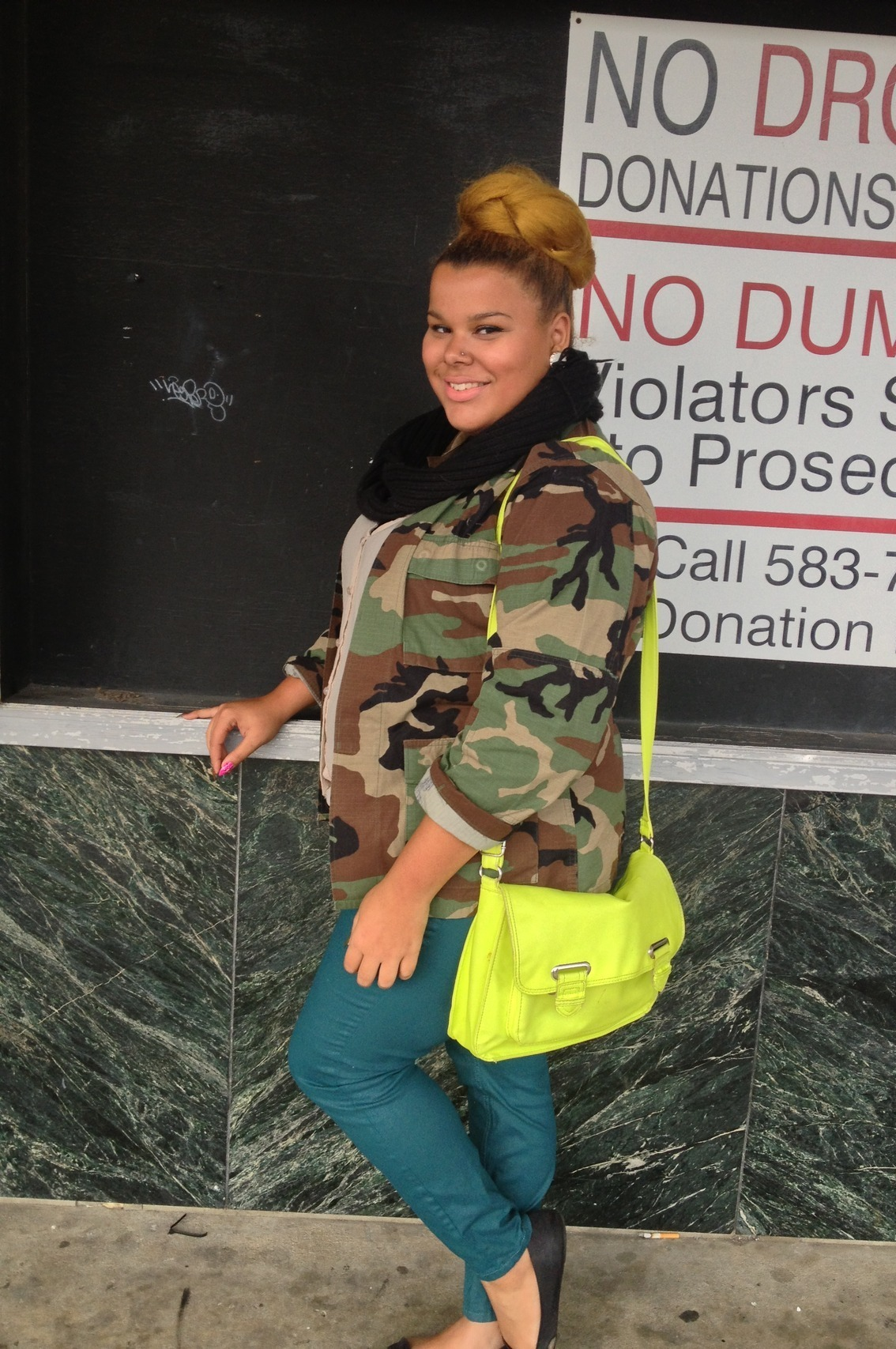 blackfashion:  Camo Jacket: Thrift,Infinity scarf:DIY, Teal Denim:Forever21,Bag: Target,Shoes:Off Broadway Tatianna,17,VA styleremainingfashionfading.com mynameistbarry.tumblr.com