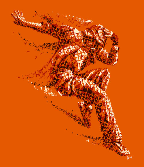 "The orange dancer (by tsevis) Experimental unpublished illustration (study) while working for the BURN advertising campaign. Best viewed large.  Attention: Big file. (10000 x 11587 pixels = 33.3"" x 38.6"" @ 300 ppi) Alternately you can zoom in to the high res (68 megapixels) file with Microsoft ZoomIt. Made with custom developed scripts, hacks and lots of love, using my Mac, Synthetik Studio Artist, the Adobe Creative Suite and good music. See the BURN advertisement campaign. See all my Experimental works. Some details:"