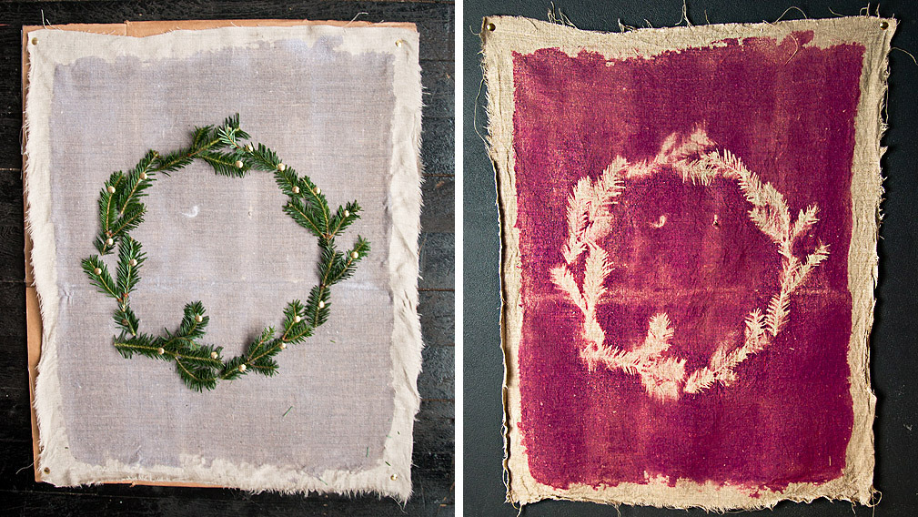 DIY: How to Make a Photogram Wreath Make a wreath on fabric with the Inkodye Photo Fabric Dye Kit. It this rad dye that lets you make colorful sun prints on fabric. Photo by Maxwell Tielman/Design*Sponge