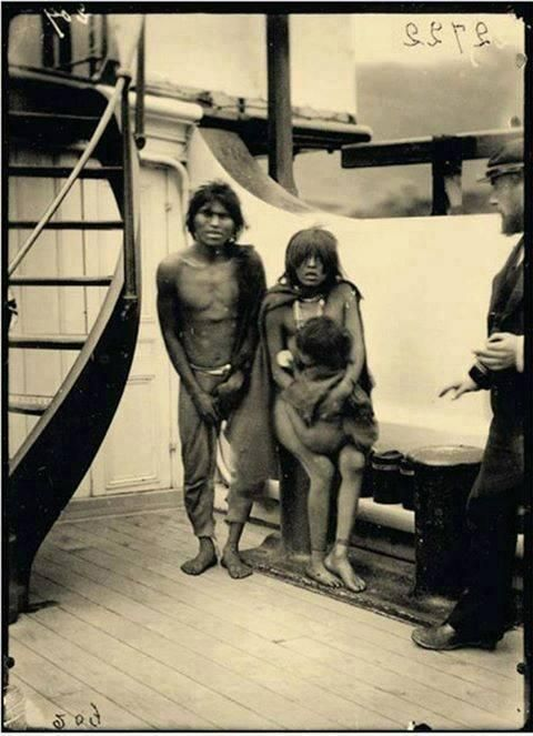 welcometothe1jungle:  Selk'nam natives on their way to Europe for being exhibited as animals in zoos. C. 1889.