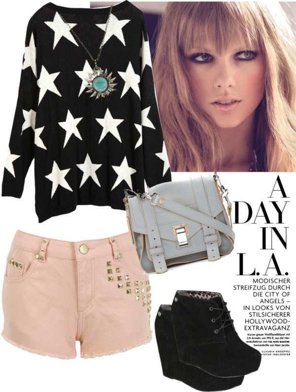 Untitled #126 by jasperstate featuring grey handbagsStar sweater / Miss Selfridge highwaisted shorts / Blink platform wedge shoes, $31 / Proenza Schouler grey handbag / Lucky Brand flower necklace
