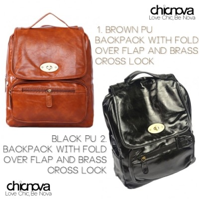 PU Backpack with Fold Over Flap and Brass Cross Lock Help me choose sweeties. Brown or Black?