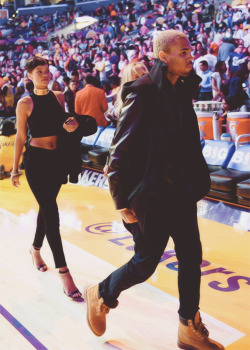 chrsbrown:  Chrianna leaving the Lakers game.