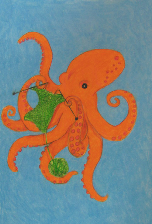 Knit One, Perl Two by *Teagan-Aliss AT LONG LAST. Here is that octopus I was going on to you guys about asking which colour and that. He's sort of my favorite. The quality is bad because my scanner was warping the colour, so eventually I got pissed off and took a picture.