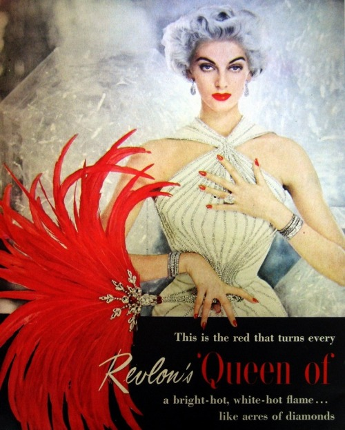 vtgesther:  vintagechampagnefever:  Carmen Dell'Orefice as the face of Revlon in this 1950s print advert   Living!