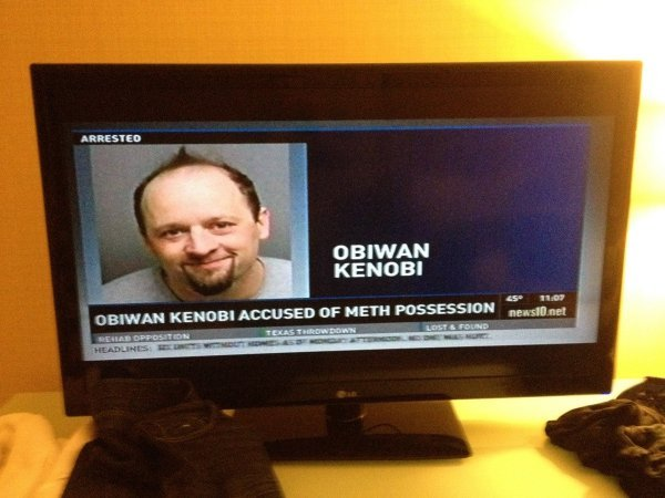 "collegehumor:  Obiwan Kenobi Accused of Meth Possession ""I'm sorry, sir, but yes, this is the satchel of meth we're looking for. Please step out of the hover-car."""