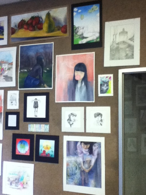 solvents:  my wall with most of my AP portfolio