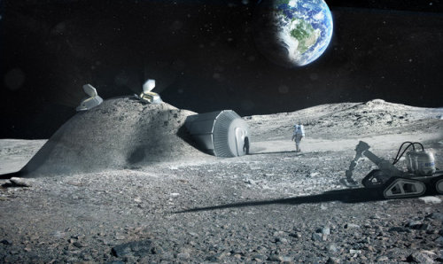 "3D Printers Could Make Moon BaseSetting up a lunar base could be made much simpler by using a 3D printer to build it from local materials. Industrial partners including renowned architects Foster + Partners have joined with ESA to test the feasibility of 3D printing using lunar soil.""Terrestrial 3D printing technology has produced entire structures,"" says Laurent Pambaguian, heading the project for ESA. ""Our industrial team investigated if it could similarly be employed to build a lunar habitat."" Foster + Partners devised a weight-bearing ""catenary"" dome design with a cellular structured wall to shield against micrometeoroids and space radiation, incorporating a pressurized inflatable to shelter astronauts.Read more: http://www.laboratoryequipment.com/news/2013/02/3d-printers-could-make-moon-base"
