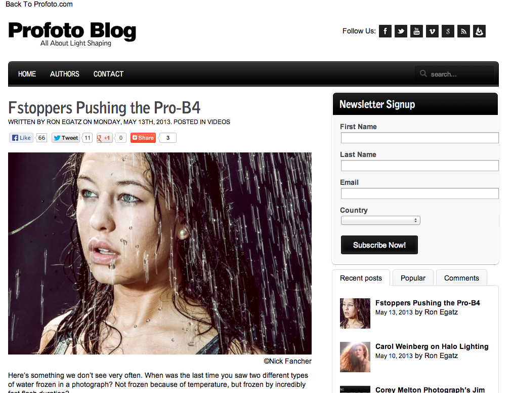 Getting some love over on Profoto's Blog.