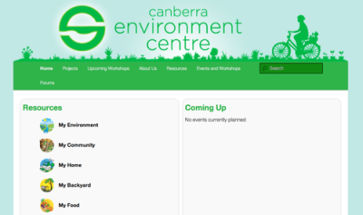 Designed graphics for the new Canberra Environment Centre Website.