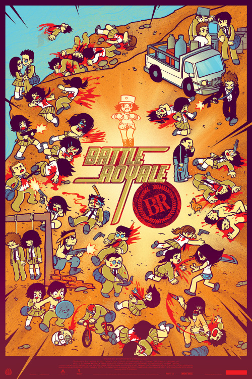 "radiomaru:  BATTLE ROYALE poster by Bryan Lee O'Malley & Kevin Tong Battle Royale SCREENING saturday february 16 in Houston TX - tickets here! http://www.tugg.com/events/3035 Ticket comes with one of these limited edition prints. They are full movie poster sized screenprinted art objects! (24"" x 36"") ALSO apparently via Tugg.com you can set up a screening in your own town and get the art print too! More info here. Thanks to Mondo, Alamo Drafthouse and Tugg for making this possible and to Kevin Tong for doing the color work on this beast. ADDED: The screening is now a double feature of BATTLE ROYALE & SCOTT PILGRIM VS THE WORLD for the same ticket price  I wish I lived in Texas…"