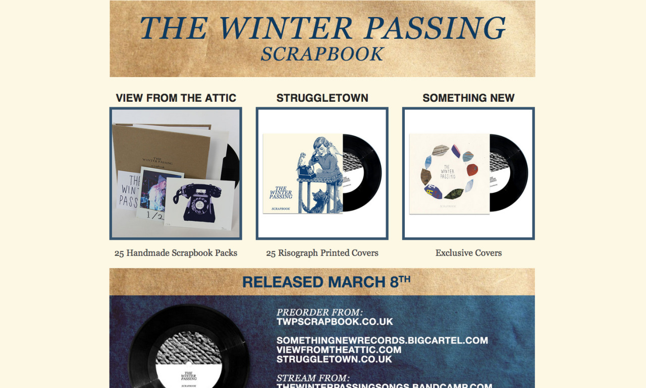 7 inch cover I did for The Winter Passing. It's cool to see everything up and ready. You can buy it here; http://somethingnewrecords.bigcartel.com/product/the-winter-passing-scrapbook-7